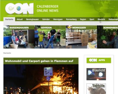 Screenshot der Website der Calenberger Online News (CON) vom 02.07.2013.