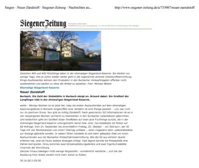 Auf etwas mehr als einer halben Seite: Zündstoff in der Siegener Zeitung vom 30.10.2013 (Screenshot der pdf-Datei des Artikels)